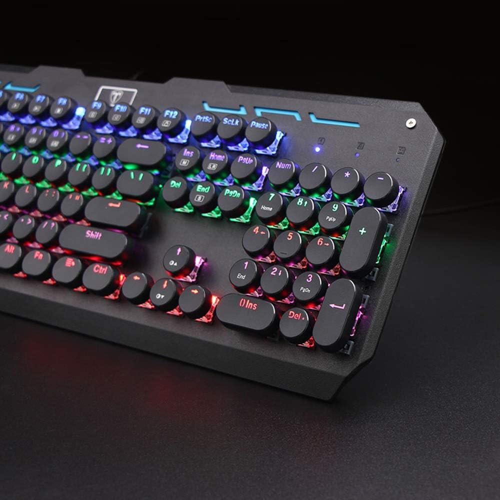 Ergonomic Real Mechanical Keyboard Backlit USB Wired Keyboard Set Mouse,A 104-Key Keyboard Mechanical Keyboard and Mouse Set