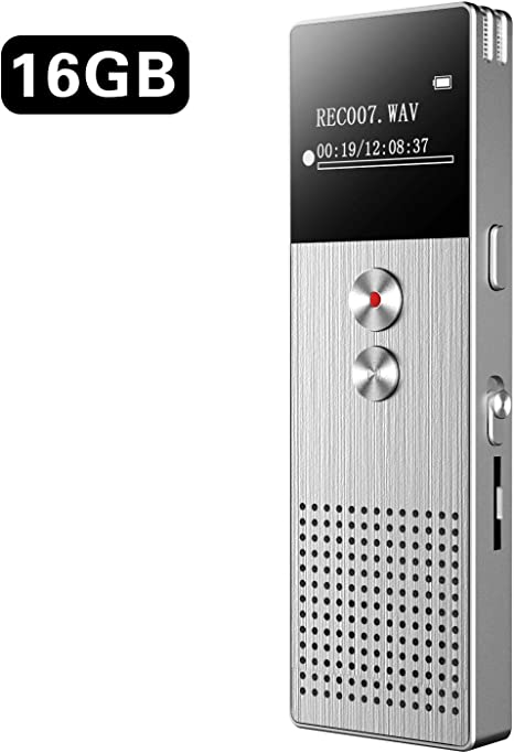 Conferences. Lectures Voice Recorder 192kbps Digital Voice Recorder with 32GB TF Card USB Professional Voice Recorder with MP3 Player 20-hour Recording Mini Stereo HD Voice Recorder for Interviews