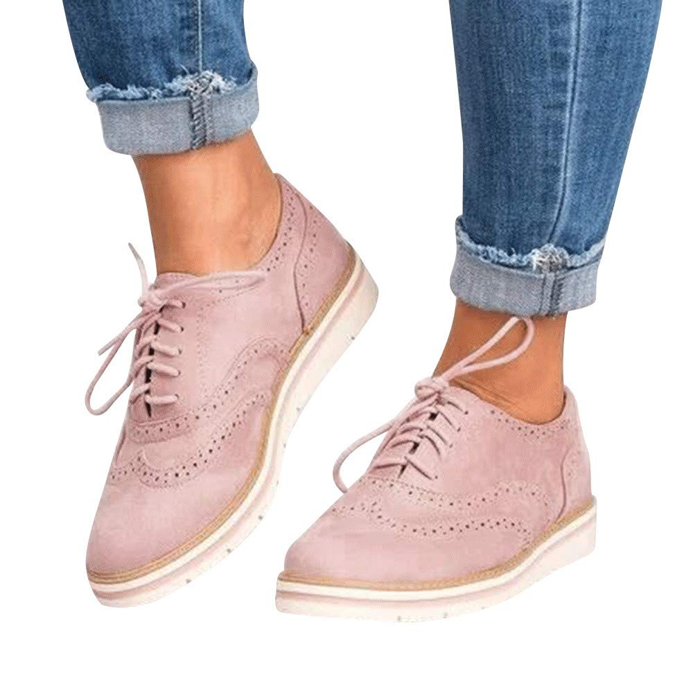 Teresamoon Womens Round Toe Solid Color Ankle Flat Suede Casual Lace Up Shoes Sport Shoes Gift Ideas!!