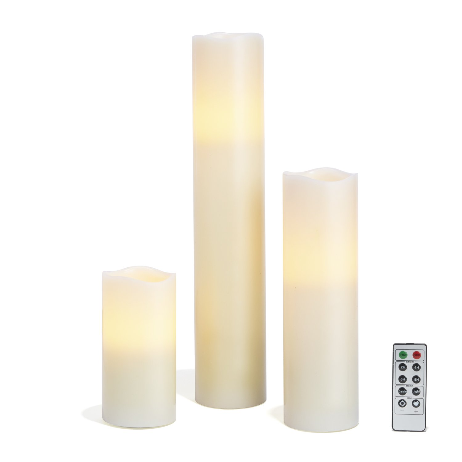 Flameless Ivory Pillar Candles with Remote, Tall Candle Set with Smooth Wax Finish, Warm White Glowing LEDs, Batteries Included - Set of 3
