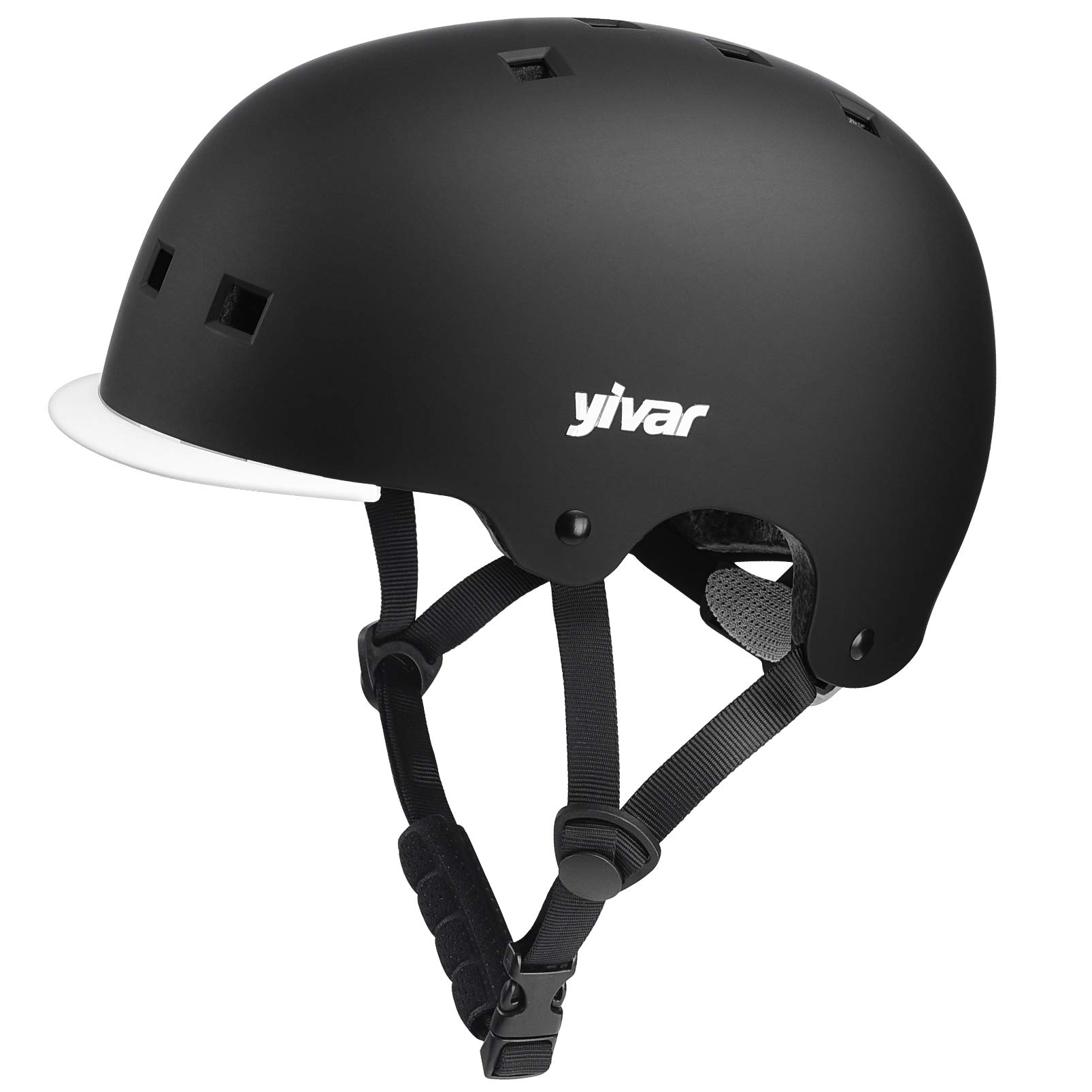 YIVAR Kids Bike Helmet Adjustable Skateboard Helmet with Detachable Visor for Scooter Roller Cycling Skating, 8-13 Years Old Boys Girls