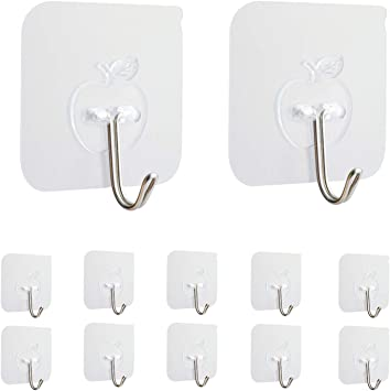Transparent Heavy Duty Wall Stick Hooks for Bathroom and Kitchen Hanging Hooks 25 Packs Strong Adhesive Hooks 33lb//15kg Max