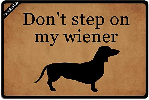 Ruiyida Don t Step On My Wiener Dachshund Entrance Floor Mat Funny Doormat Door Mat Decorative Indoor Outdoor Doormat Non-Woven 23.6 by 15.7 Inch Machine Washable Fabric Top