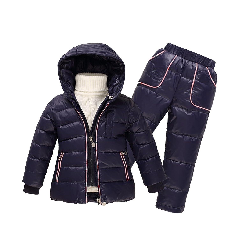 iPretty Skianzug Kinder 3tlg Daunenjacke mit fest kapuze Daunen Hose+Weste Wasserdicht Schneeanzug Bekleidungsset für Jungen Mädchen