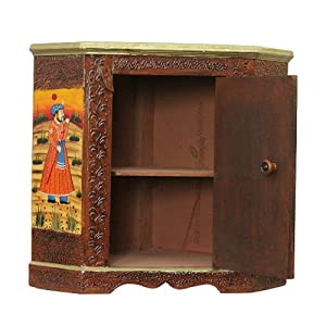 Apkamart Hand Crafted Wooden Almirah Cabinet - 30 Inch Height - Showpiece & Utility Article For Home Decor And Gifts