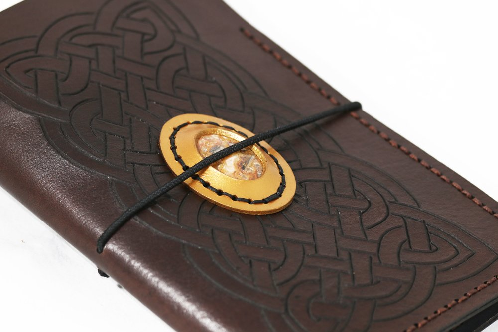 Carved Celtic knot work withjasper stone leather traveller's or Midori style journal in brown