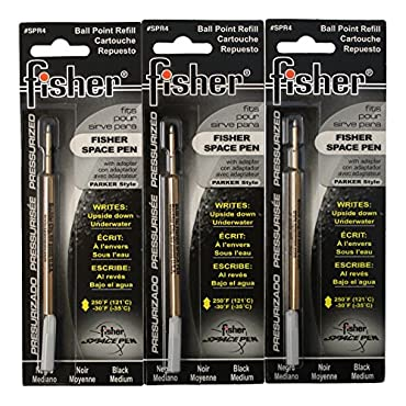Fisher SPR4 Space Pen Pressurized Ballpoint Ink Refill, Medium Point, Black Ink, Pack of 3