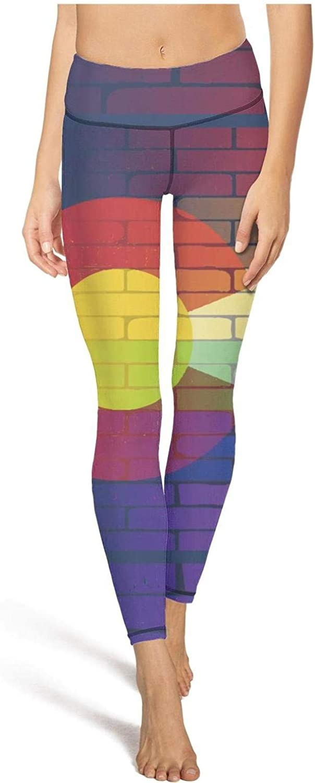 Girl Yoga Pants Gay Rainbow Wall Colorado Flag Tummy Hips Yoga Leggings with Pockets