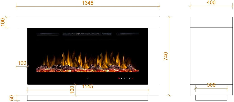 LED Feuerambiente inkl Heizfunktion Feuerraum 97 cm schwarz Noble Flame Nevada moderner Design Elektrokamin Raumteiler beidseitig