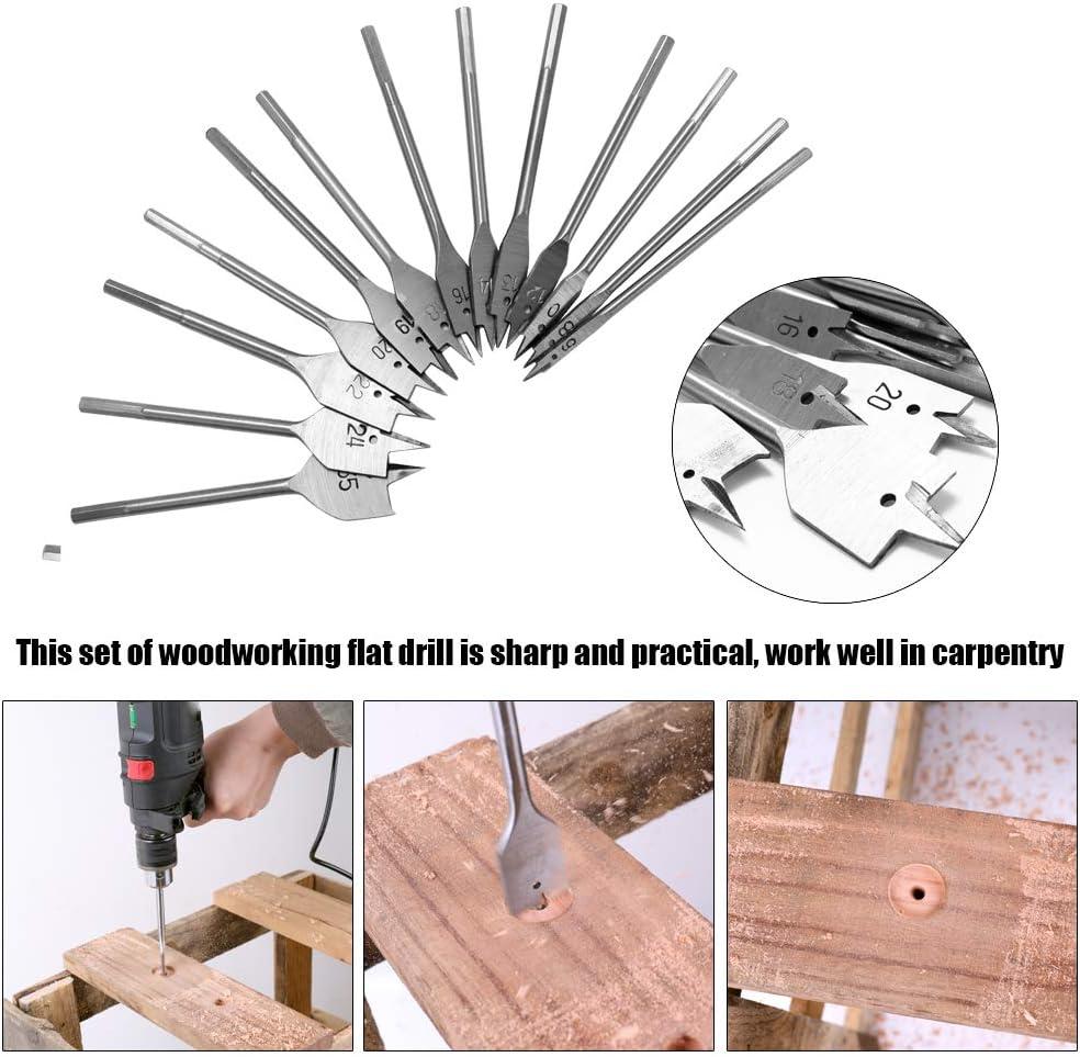 15pcs m/èches Plates Spade Set M/étal Bit Kit Hex Shank Outils de Travail du Bois Accessoires