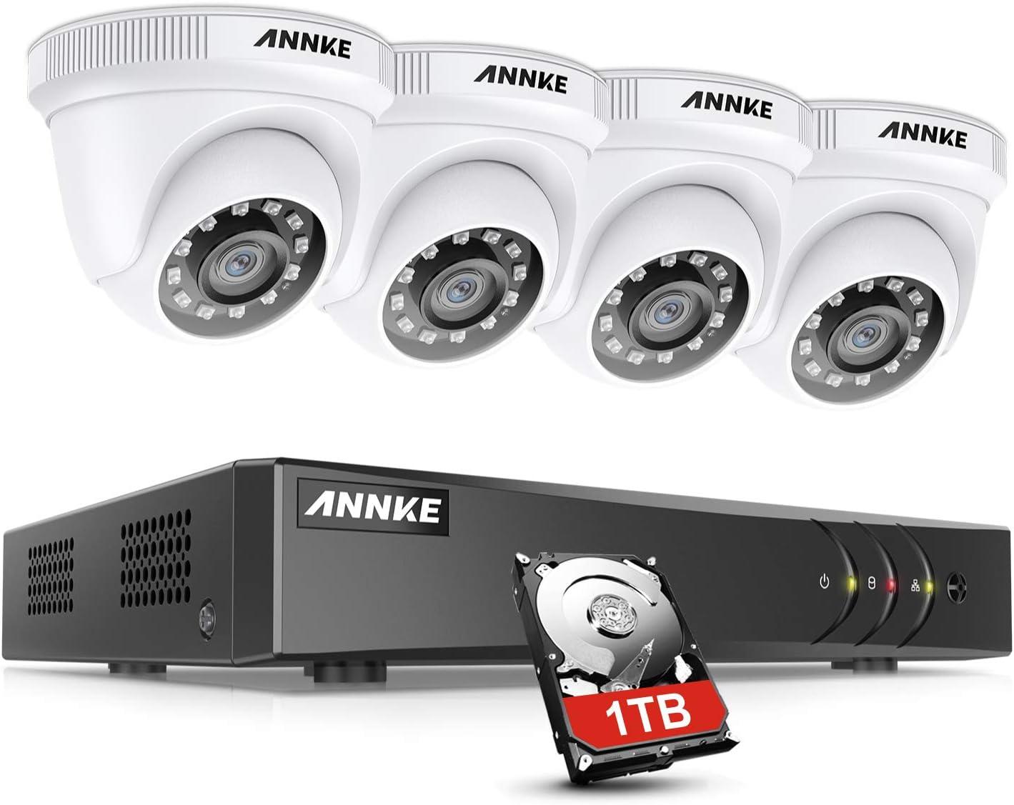 ANNKE Kit Sistema de Seguridad CCTV Cámara de vigilancia 4CH 3MP H.264+ DVR con 4 Cámaras 1080P IP66 Impermeable Visión Nocturna No-Ruido Alerta por Correo electrónico con instantáneas