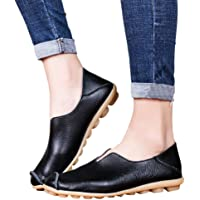 Women's Leather Loafers Casual Round Toe Slip-On Moccasins Soft Comfort Driving Walking Flats Shoes White