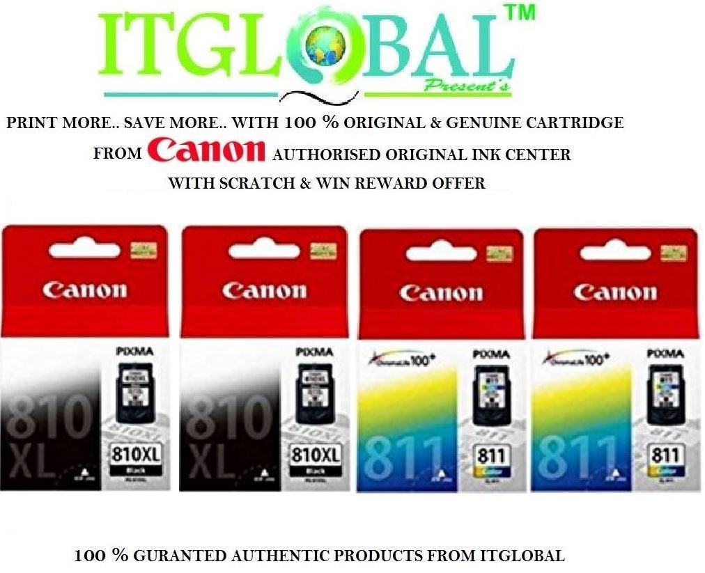 Canon Pg 810 Xl Black Cl 811 Color 2 Each Set Of 4 Cartridge Catridge Colour Special Itglobal Combo With Scratch Win Reward Offer From
