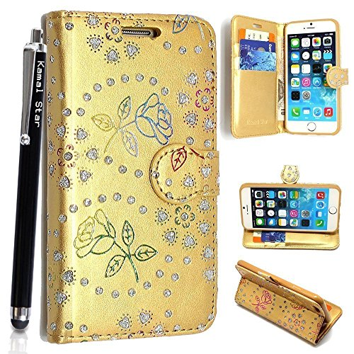 APPLE IPOD TOUCH 4 4TH GEN Case, Kamal Star® Premium PU Leather Magnetic Case Cover with ATM card and Note slots + Free Stylus (Rose Gold Diamond Book)