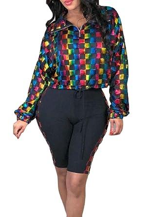 Gocgt Women Casual Colorblock Long Sleeve Zipper Crop Tops Shorts 2 Piece Outfit