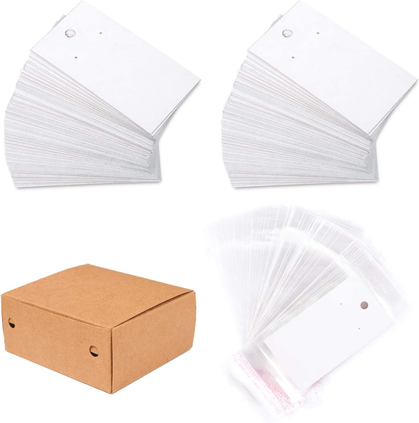 Earring Jewelry Display DIY Cards with Self Adhesive Bags White 5 /× 9 cm 100 Pcs