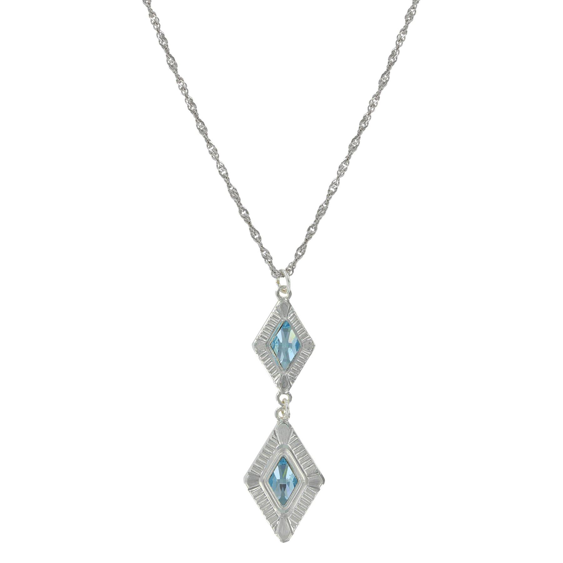 "Montana Silversmiths Summer Skies Double Diamond Aquamarine Necklace, 19"" Chain – Swarovski Crystal"