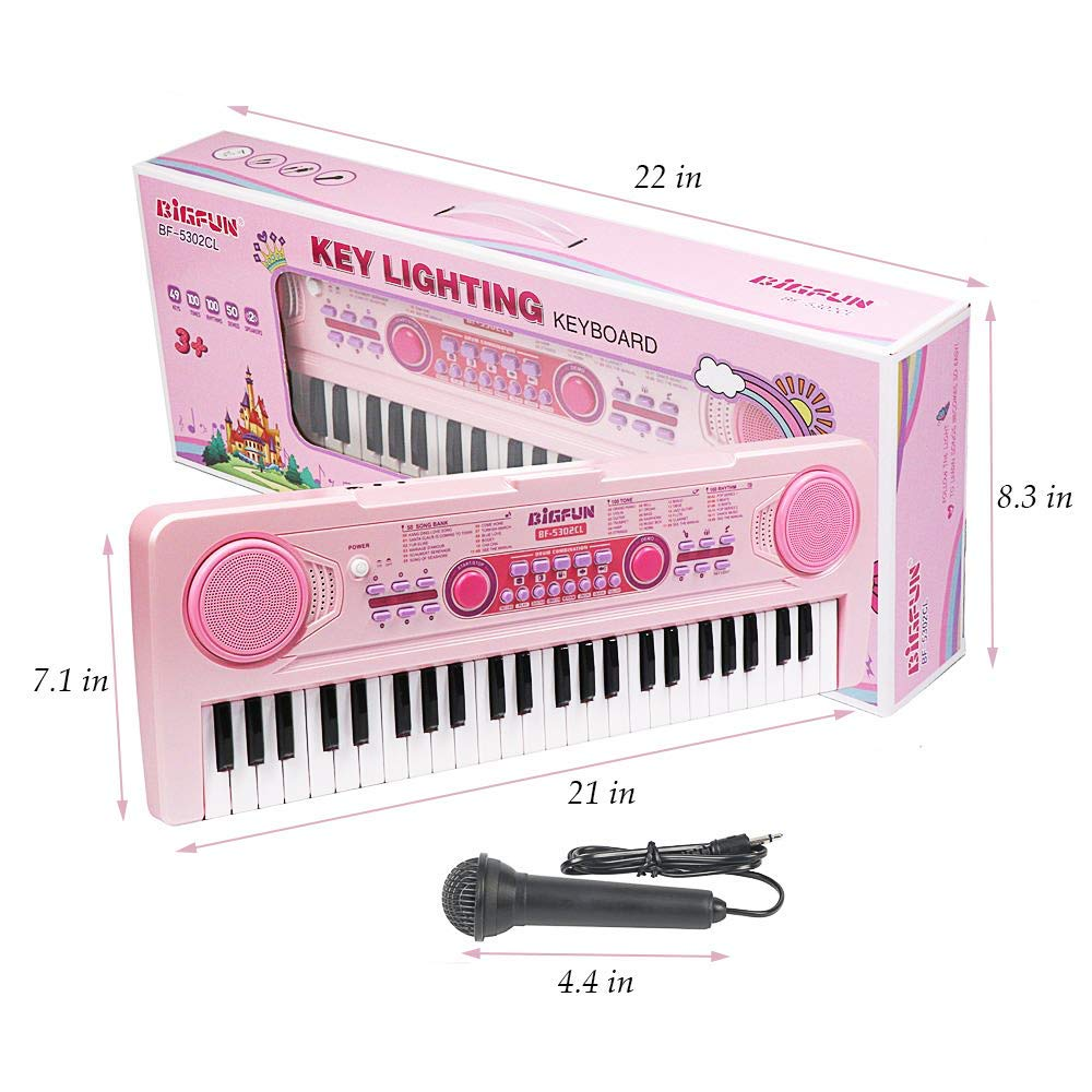 SAOCOOL Piano Keyboard, 49 Keys Multi-Function Charging Electronic Kids Piano Keyboard Music Educational Toy for Children Over 3 Years Old (Pink) by SAOCOOL (Image #6)