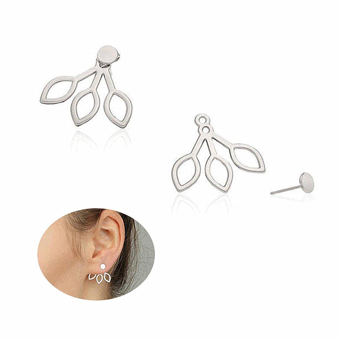 Sterling Silver Lotus Flower Stud Earrings Jackets Jewelry Elegant Chic Earrings for Women Girl