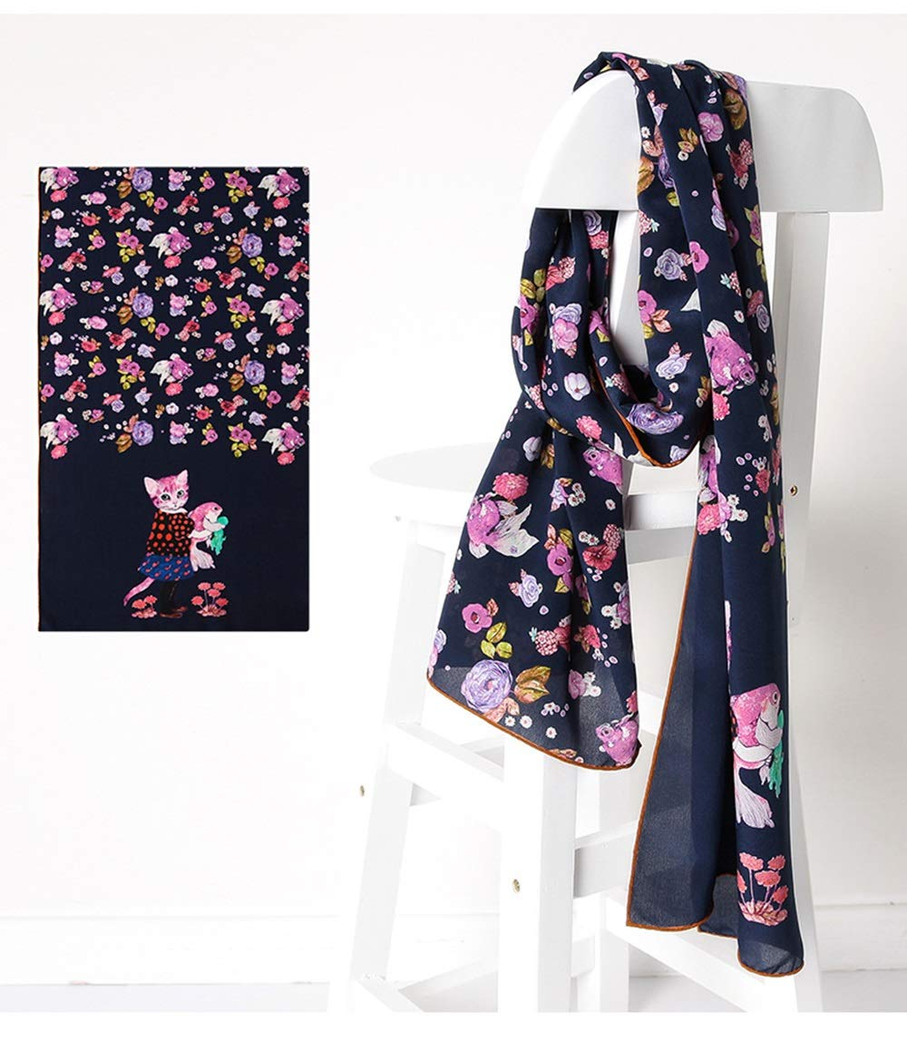 bluee JUN Spring and Summer Ladies Shawl Soft and Comfortable Cute Printed Cartoon Silk Scarf (color   Pink)