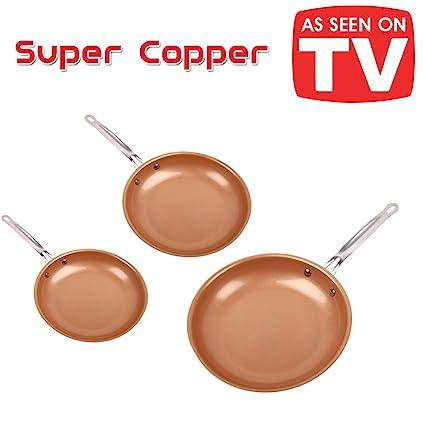 Super Copper. Juego de 3 sartenes de 20, 24 y 28 cm de cerámica