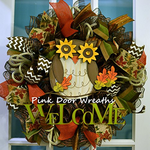 Fall-Thanksgiving-Welcome-Owl-Deco-Mesh-Wreath-Brown-Green-Gold-Orange