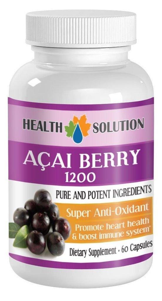 3 Bott Pure ACAI Berry Powder 1200mg Powerful Antioxidant Anti Aging 60 Capsules