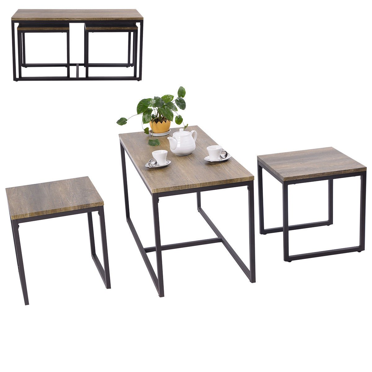Amazon.com: Giantex 3 Piece Nesting Coffee & End Table Set Wood ...