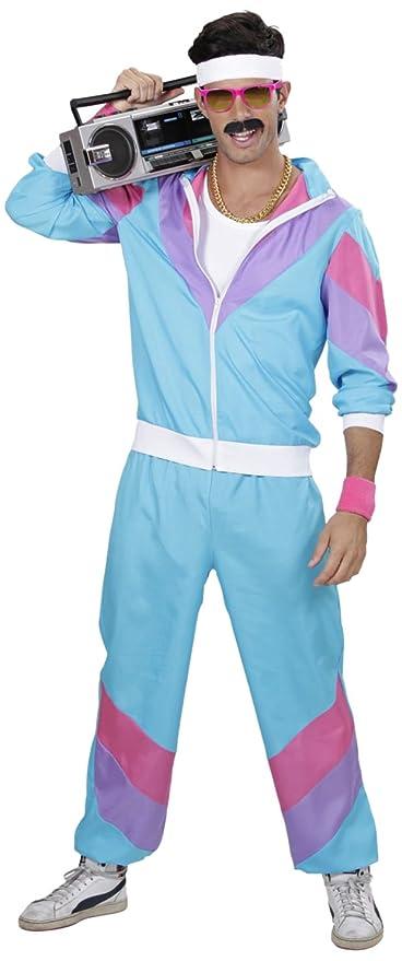WIDMANN Disfraz 80s Shell Retro - Chándal para adulto, Multicolor (Azul/Lila/Rosa), talla del fabricante: S