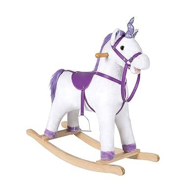 Kinbor Unicorn Rocking Horse Plush Animal Rocker with Sounds, Stirrups, Saddle and Reins: Toys & Games