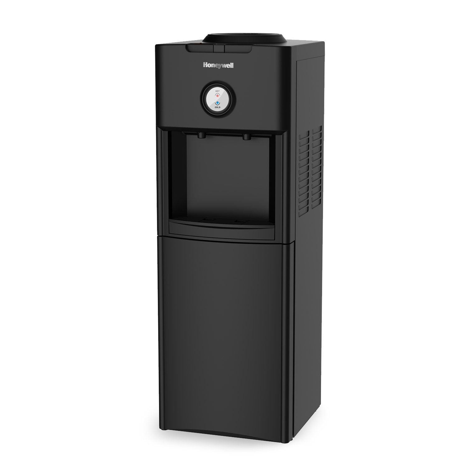 Honeywell HWB1062B 34-Inch Freestanding Hot and Cold Water Dispenser with Stainless Steel Tank to help improve water taste, Back Handle for EASIER HANDLING and Thermostat Control, Black