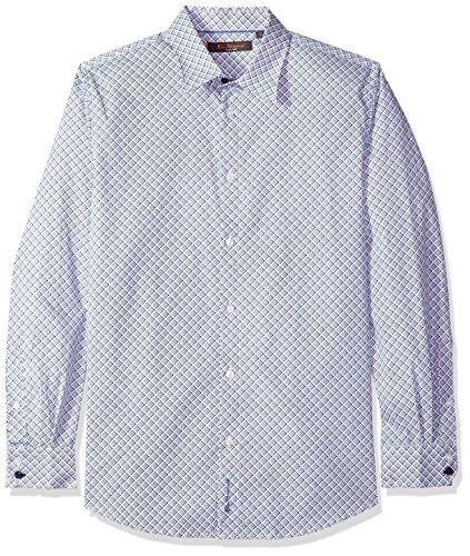 Ben Sherman Men's Long Sleeve BIAS Check Print Shirt, Indigo, XXL