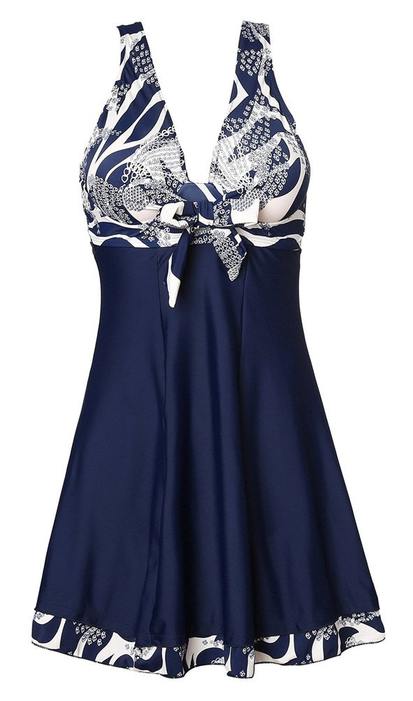 Nuoyanmei Womens Vintage Sailor Straps Halter Pin Up One Piece Bathing Suit (5XL (US 30W-32W), Navy Flower)
