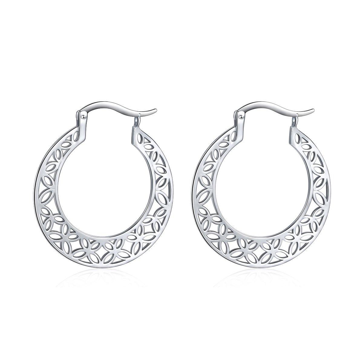 S925 Sterling Silver Filigree Hoop Earrings Round Dangle Earrings Click-Top for Women,30mm