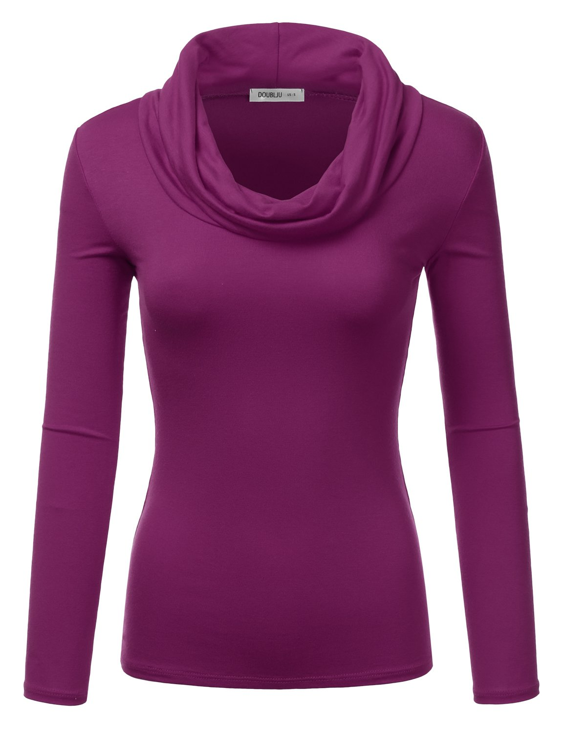 Doublju Lightweight Soft Knit Cowl Neck Top For Women With Plus Size (Made In USA) MAGENTA SMALL