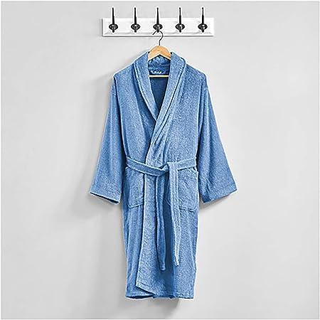XUMING para Hombre de Las señoras de Albornoz Bata Bata de baño de Rizo Vestidos 100% de algodón con Capucha Batas de Toalla Mujer de los Hombres,Azul,L: Amazon.es: Hogar