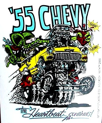 Hot Rod Decal (Rat Fink 1955 CHEVY Hot Rod Decal / Sticker Chevrolet)