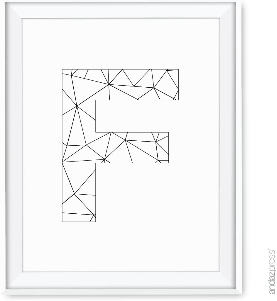 Andaz Press Modern Black and White Geometric Monogram Wall Art Decor, Letter F, 8.5x11-inch, 1-Pack, Unframed Prints Poster
