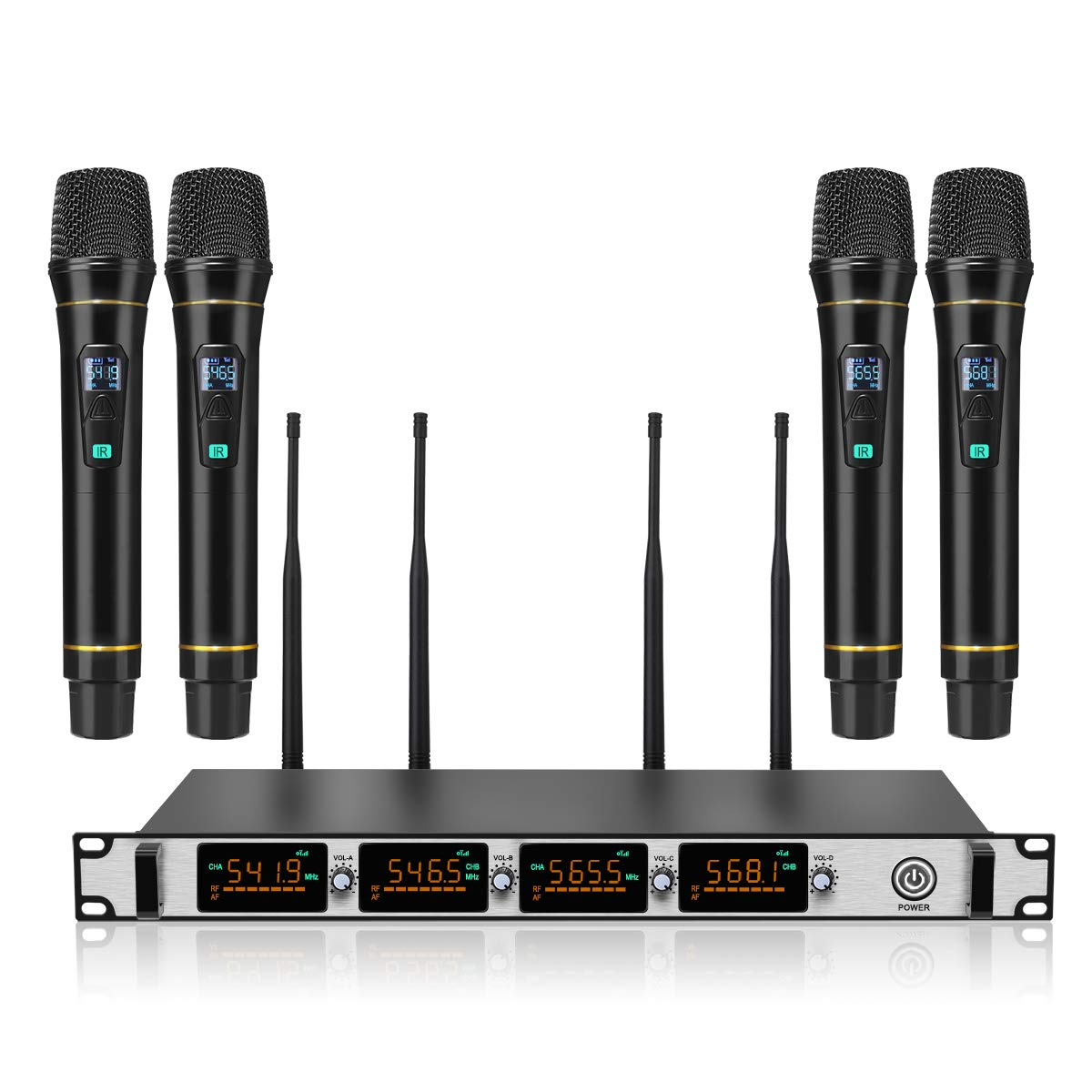 Wireless Microphone System,NASUM 4-Channel Metal UHF Wireless Microphone System,Cordless Karaoke Microphone Set, LCD Display Professional Home KTV Set for Party,Karaoke,Wedding,Classroom, Church by NASUM