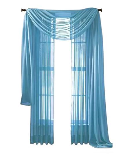 Moshells Home Decorative 216quot Sheer Curtain Scarf Aqua