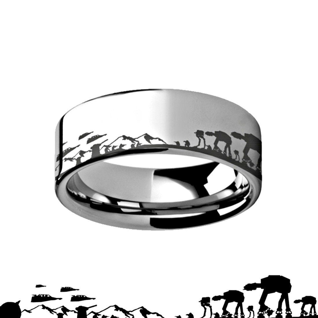 Hoth Battle Star Wars Alliance Galactic Imperial Invasion ATAT ATST Tungsten Engraved 10mm Band Ring by Thorsten from Roy Rose Jewelry