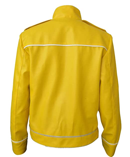 CHICAGO-FASHIONS Freddie Queen Concert Belted Motorcycle Yellow Faux Leather Mercury Jacket at Amazon Mens Clothing store: