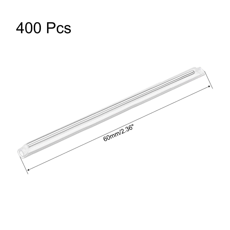 2 Ends Pre-Shrunk Fiber Optic Fusion Splice Tube Protector Sleeves sourcing map 60mm 3mm OD Fiber Optic Sleeves Clear Heat Shrinkable Tubing 1.2mm OD Rod 400pcs
