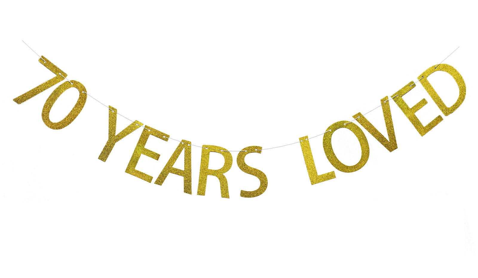 Fecedy Gold 70 Years Loved Banner Glitter Letters For 70th Birthday Party Decorations