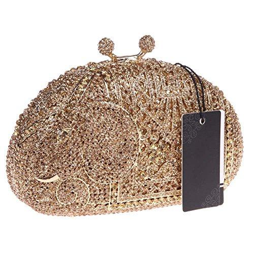 Damen Clutch Abendtasche Handtasche Geldbörse Luxus Funkelt Glitzer Kristall Elefant Tasche mit wechselbare Trageketten von Santimon(9 Kolorit) Gelb iBBSWg6