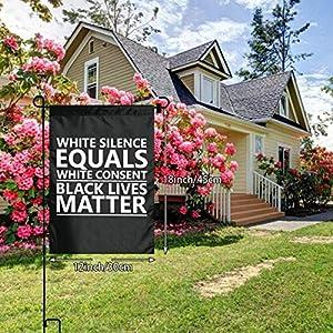 Q23DKZ&Sports White Silence,White Consent Black Lives Matter Spring Garden Flag Wedding Yard Outdoor Decor Yard