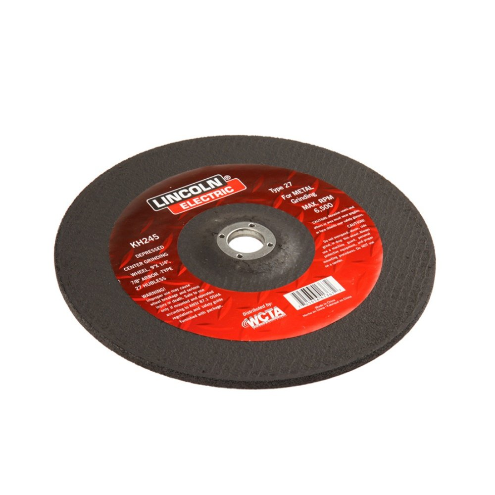Lincoln Electric KH245 Depressed Center Grinding Wheel, Aluminum Oxide, 6500 rpm, 9' Diameter x 1/4' Thick, 7/8' Arbor (Pack of 3) 9 Diameter x 1/4 Thick 7/8 Arbor (Pack of 3) The Lincoln Electric Company