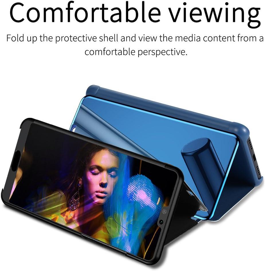 ZCXG Compatible avec Coque Huawei P20 Lite Housse Cuir Miroir Flip 360 Degr/és Full Cover Fermeture Magn/étique Case Fonction Stand Cover Scratch Resistant Antid/érapant Noir