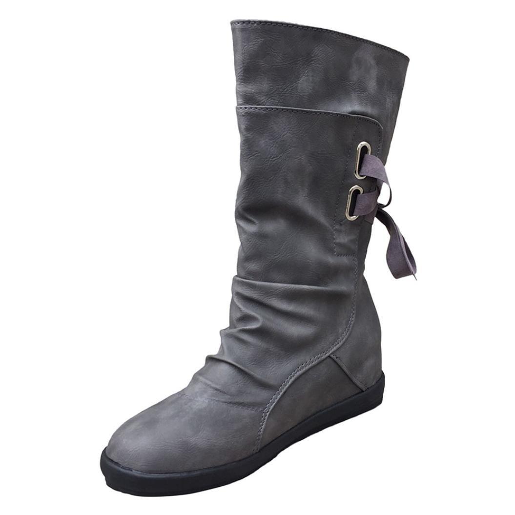 yjydadaレディースPUレザーのミッドカーフブーツ高さ増加靴 B075R8V6PZ 42|グレー グレー 42