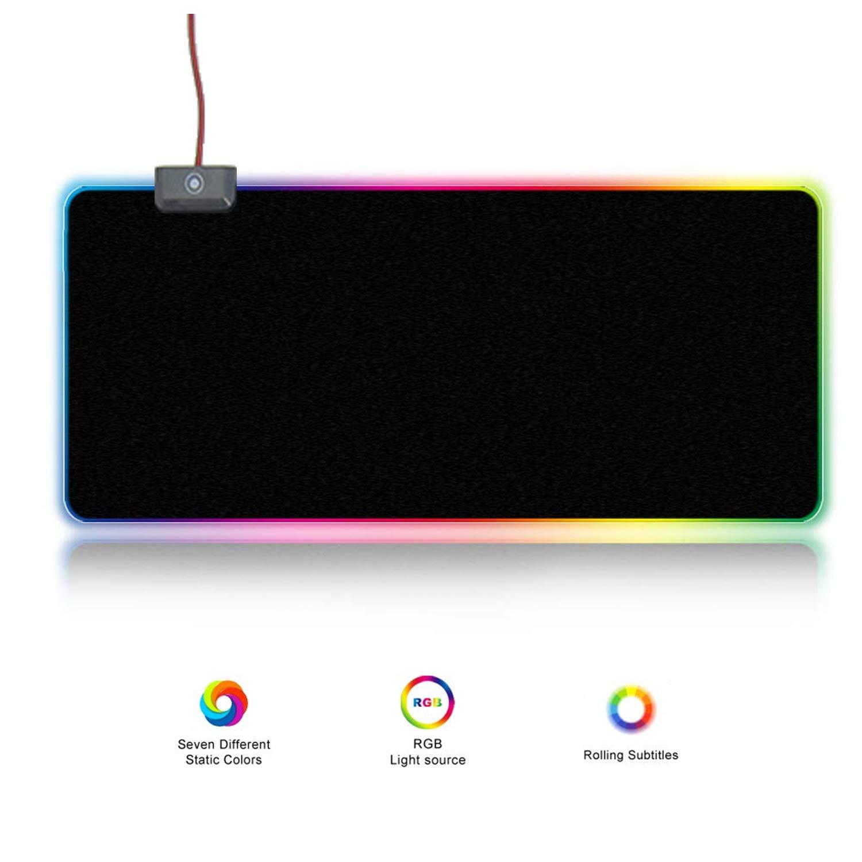 JHKJ El cojín de ratón del Juego del RGB llevó iluminación la iluminación llevó de respiración (9 Modos de iluminación), cojín de ratón Grande de la computadora del USB. 7211f5